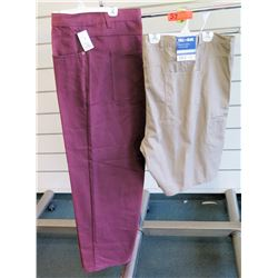 Men's Long Burgundy Pants & Full Blue Khaki Colored Work Shorts Size 56