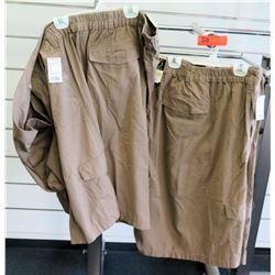 Qty 2 Falcon Bay Sportswear Tan Elastic Waist Shorts Size 7XL