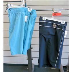 Qty 2 Men's Blue Elastic Waist Shorts Size 2XL