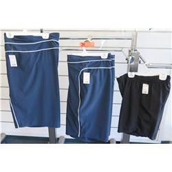 Qty 2 Blue Shorts Size 4XL & Black Elastic Waist Shorts Size 1XL