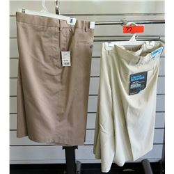 Qty 2 Men's Tan Shorts Stretch Microfiber Extender Waistband Size 56 & 56W