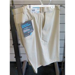 Men's Beige Shorts Stretch Microfiber Extender Waistband Size 46W