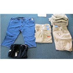 Qty 4+ Men's Full Blue Elastic Waist Cargo Shorts, Jeans & Black Pants Size 62
