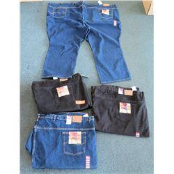Qty 2 Men's Grand River Blue Jeans & 2 Black Jeans Size 78
