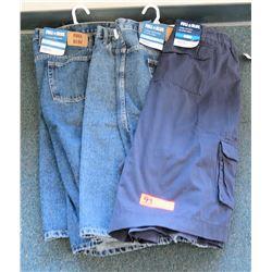 Qty 2 Full Blue Denim Jean 5P Shorts & Black Cargo Shorts Size 60