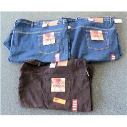Qty 2 Grand River Blue Denim Pants Size 76-80 & Black Pants Size 80