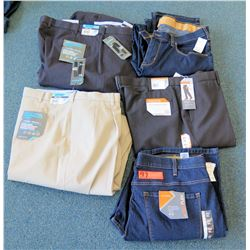 Qty 5 Pants - 2 Jeans Size 44,  3 Savane Black & Tan Chino Size 36-40W