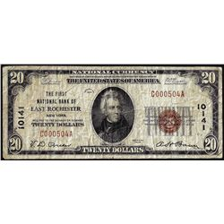 1929 $20 First NB of East Rochester, NY CH# 10141 National Currency Note