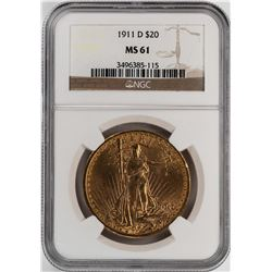 1911-D $20 St. Gaudens Double Eagle Gold Coin NGC MS61