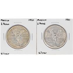 Lot of (2) 1921 Mexico 2 Pesos Silver Coins