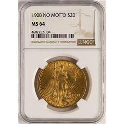 1908 $20 No Motto Saint Gaudens Double Eagle Gold Coin NGC MS64