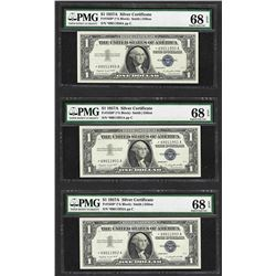 Lot of (3) 1957A $1 Silver Certificate STAR Notes PMG Superb Gem Uncirculated 68EPQ