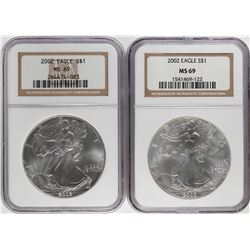 Lot of (2) 2002 $1 American Silver Eagle Coins NGC MS69