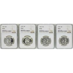 Lot of (4) 1959 Proof Franklin Half Dollar Coins NGC PF67