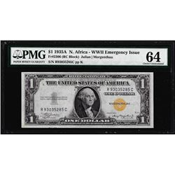 1935A $1 North Africa Silver Certificate WWII Emergency Note PMG Ch. Uncirculated 64