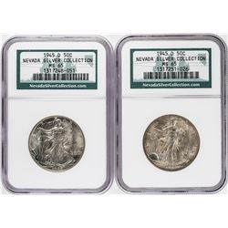 Lot of (2) 1945-D Walking Liberty Half Dollar Coins NGC MS65