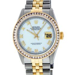 Rolex Mens Two Tone 14K MOP Princess Cut Datejust Wristwatch With Rolex Box