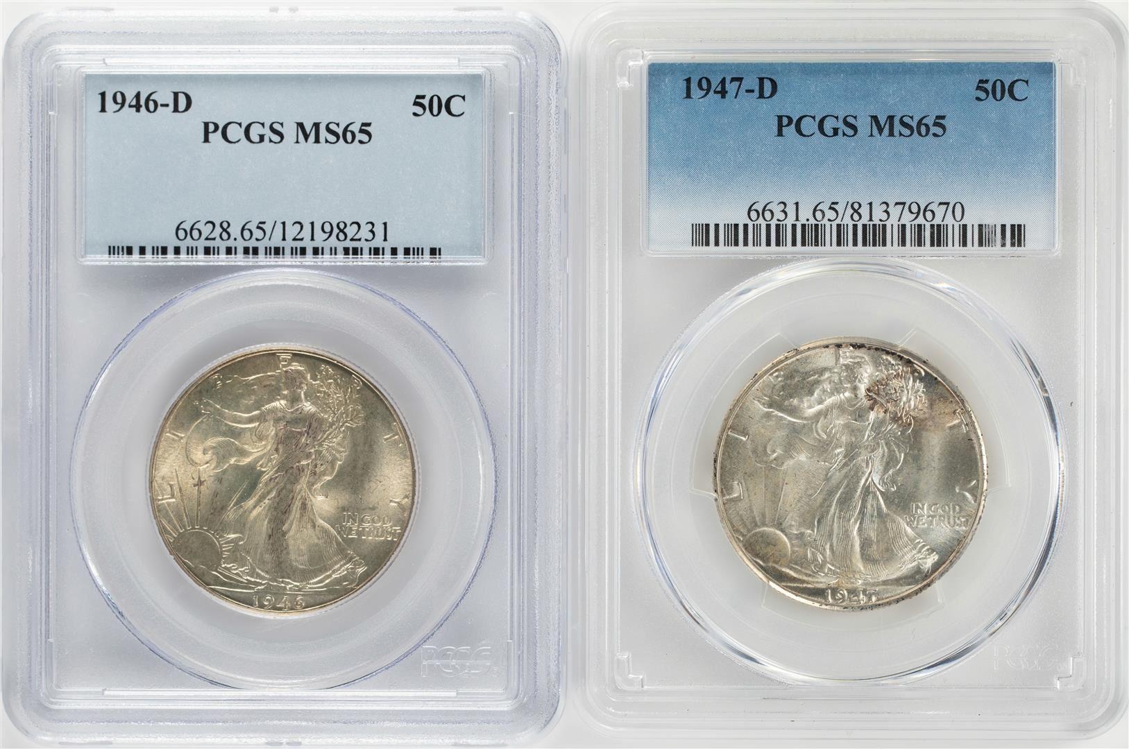 1946-D US Walking Liberty Silver Half Dollar 50C PCGS MS65