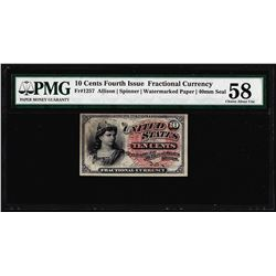1862 10 Cent Fourth Issue Fractional Currency Note Fr.1257 PMG Ch. About Unc. 58