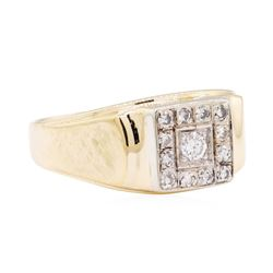 14KT Yellow and White Gold 0.50 ctw Men's Square Top Ring