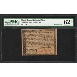 July 2, 1780 $8 Rhode Island Colonial Currency Note Fr.RI-288 PMG Uncirculated 62 Net