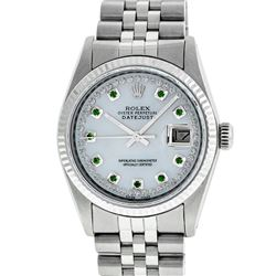Rolex Men's Stainless Steel Mother Of Pearl Diamond & Emerald Datejust Wristwatch