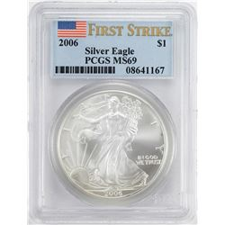 2006 $1 American Silver Eagle Coin PCGS MS69 First Strike