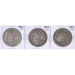 Lot of 1883-S to 1885-S $1 Morgan Silver Dollar Coins