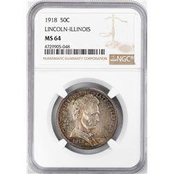 1918 Lincoln Illinois Centennial Commemorative Half Dollar Coin NGC MS64 Nice Toning