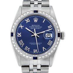 Rolex Men's Stainless Steel Blue Roman Diamond & Sapphire 36MM Datejust Wristwatch