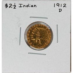 1912-D $2 1/2 Indian Head Quarter Eagle Gold Coin
