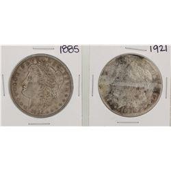 1885 & 1921 $1 Morgan Silver Dollar Coins