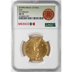 2019 Mo Mexico Libertad 1/2 Onza Gold Coin NGC MS70 First Releases