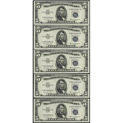 Lot of (5) Consecutive 1953B $5 Silver Certificate Notes Gem Uncirculated