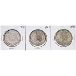 Lot of (3) 1948 Mexico Cinco Pesos Silver Coins