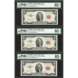 Lot of (3) 1953C $2 Legal Tender Notes Fr.1512 PMG Gem Uncirculated 65EPQ