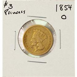 1854-O $3 Indian Princess Head Gold Coin
