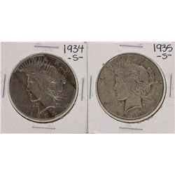 Lot of 1934-S & 1935-S $1 Peace Silver Dollar Coins