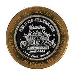 .999 Fine Silver Flamingo Las Vegas, Nevada $10 Limited Edition Gaming Token