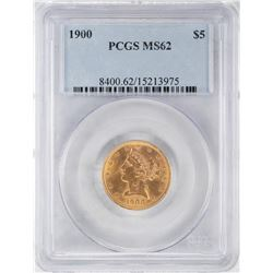 1900 $5 Liberty Head Half Eagle Gold Coin PCGS MS62