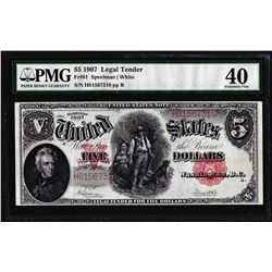 1907 $5 Woodchopper Legal Tender Note Fr.91 PMG Extremely Fine 40