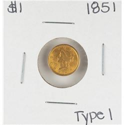 1851 Type 1 $1 Liberty Head Gold Dollar Coin