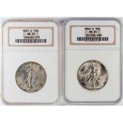Lot of 1945-D to 1946-D Walking Liberty Half Dollar Coins NGC MS65