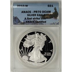 2010-W $1 Proof American Silver Eagle Coin ANACS PR70DCAM First Strike