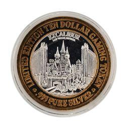 .999 Fine Silver Excalibur Las Vegas, Nevada $10 Limited Edition Gaming Token