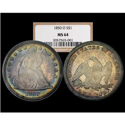 None Finer 1850-O $1 Seated Liberty Dollar Coin NGC MS64