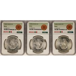 Lot of (3) 1948Mo Mexico 5 Pesos Silver Coins NGC MS64
