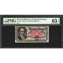 1874 50 Cent Fifth Issue Fractional Currency Note Fr.1381 PCGS Choice New 63PPQ