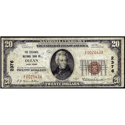 1929 $20 Exchange NB of Olean, NY CH# 2376 National Currency Note