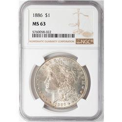 1886 $1 Morgan Silver Dollar Coin NGC MS63